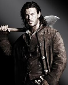 Chris Hemsworth as the broken hearted, angry huntsman in Snow White and the Huntsman.