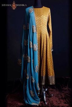 *This color yellow top, blue bottom with red dupatta* Converting this into a yellow lengha with heavy work blue dupatta