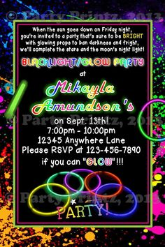 Bright Neon Theme Birthday Party Invitations Glow In The