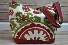 Fall Colors Purse / Eco Cotton / Waterproof, Red, Olive, Natural, rust-Orange / Waxed Canvas Tote / Made in the USA / Darby Mack / in stock