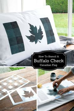 How to stencil a Buffalo Check pattern inside a unique Canadian flag design (or do this inside any design!) with a stencil from Funky Junk's Old Sign Stencils. Flag from Muddaritaville Studio. Full tutorial and teen bedroom tour at funkyjunkinteriors.net