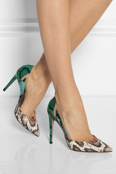 Aquazzura | Positano elaphe and PVC pumps | NET-A-PORTER.COM