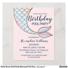 Shop Girly Rose Gold Pink Mermaid Tail Pool Birthday Invitation Postcard created by paperi. Pool Party Invitations, Mermaid Invitations, Quinceanera Invitations, Birthday Invitations, Rose Gold Pink, Rose Gold Foil, Purple Teal, Blush Pink, Blue Green