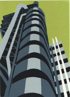 ARTFINDER: Lloyds (charcoal) by Jennie Ing - A linocut print in an edition of 50 of Richard Rogers Lloyds building in Lime Street London showing the exterior pipes and staircases. Printed with a lime b. Buy Prints, Prints For Sale, London Landmarks, Architectural Prints, Built Environment, Linocut Prints, Urban Landscape, Art Day, Printmaking