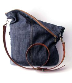Fold Over Upcycled Denim Bag Indigo Crossbody Transformer Reusable Plastic Bags, Mochila Jeans, Foldover Bag, Canvas Crossbody Bag, Diy Tote Bag, Denim Bag, Purses And Handbags, Real Leather, Fashion Bags