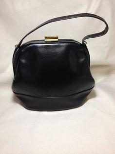 Vintage Black Leather Handbag Lined with Tan Leather on Etsy, $13.99