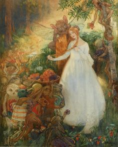 """Hilda Hechle (British, exh.1902-1938), """"Come buy from us with a golden curl"""", 1914.  From Christina Rosetti 'Goblin market'"""