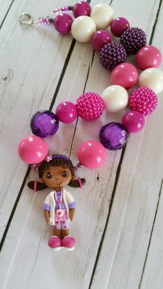 Doc McStuffins necklace, Doc McStuffins birthday party,  chunky necklace, polymer clay pendant, inspired by Disney by PaigeandPenelope, $28.00