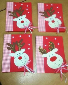 #card #wishes #diy #handmade #red #kindergarten #lagyna #reindeer #christmas #check #ribbon #glitter