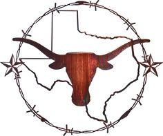 Texas Longhorn Laser Cut Metal Wall Art