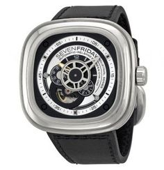 Sevenfriday Industrial Essence Silver and Black Dial Automatic Mens Watch by SEVENFRIDAY -- Awesome products selected by Anna Churchill Casual Watches, Watches For Men, Black Face Watch, Runway Shoes, Black Models, Watch Sale, Watches Online, Stainless Steel Case, Pump Shoes