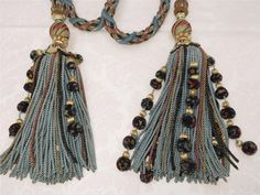 Pair of Stunning Lg French Napoleon lll Curtain/Drape Pull Tassels. Drapes Curtains, Napoleon, French Vintage, Tassel Necklace, Tassels, Textiles, Pairs, Antiques, Fabric