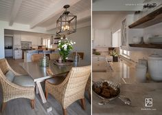 White cottage Beach kitchen and dining room.  Maraya Interior Design