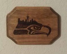 Rustic Wood Burned Wall Art  Seattle Seahawks by WoodburningByOwen