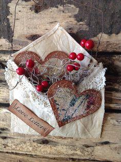 Primitive Valentines Love Letters Heart Envelope. $4.95, via Etsy.