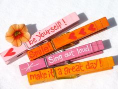 ENCOURAGING WORDS hand painted clothespins magnetic pink orange