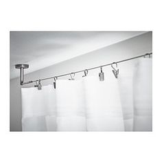 DIGNITET Curtain wire IKEA Complete set with hardware and curtain wire; ready to mount to wall or ceiling. Love this for room dividing a bedroom in an open studio! Ikea Curtains, Curtains Over Blinds, Hanging Curtains, Closet With Curtains, Van Curtains, White Curtains, Window Curtains, Wire Curtain Rod, Ceiling Curtain Rod