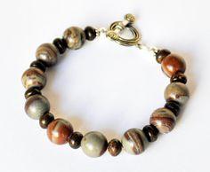 Brown Bracelet Handmade Beaded Agate Jewelry in by beaddesignsbyk