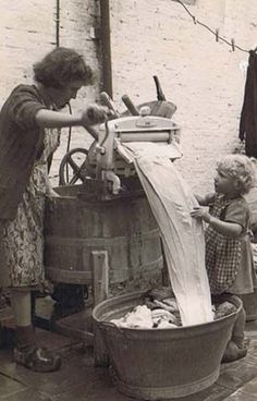 +~+~ Vintage Photograph ~+~+  Doing laundry together