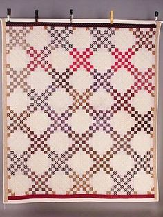 early american quilts | EARLY AMERICAN DOUBLE IRISH CHAIN PATTERN PIECED QUILT COLLECTORS ...