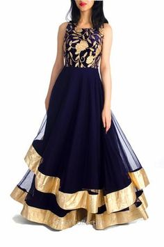 Anarkali Dress dark blue color and glamour matching churidar with net dupatta.