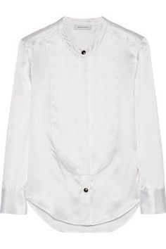 Mulberry bib-front silk-satin shirt #shirt #mulberry #babies #covetme #pierrebalmain