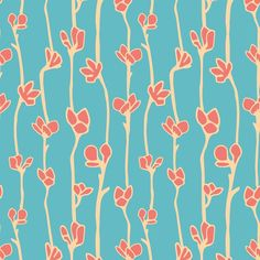 Sky garden botanical pattern by SaryandSaff, surface pattern design, aqua, blue, red, Sary and Saff