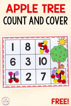 This apple count and cover math activity would be perfect for your preschool or kindergarten math centers. It's a fun counting activity for your apple theme! Apple Activities, Counting Activities, Printable Activities For Kids, Preschool Printables, Kids Learning Activities, Fun Math, Preschool Activities, Preschool Names, Number Activities
