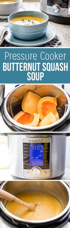 Pressure Cooker Butternut Squash Soup! Steam the whole squash in the pressure cooker, then puree it with onion, celery, carrot, apples, and broth. Quick and easy.