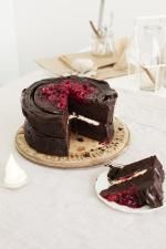 Chocolate cake with raspberry coulis, marscapone creme.