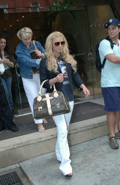 678c6ee5c7e0 Jessica Simpson wearing Christian Dior Platform Slide, Louis Vuitton  Monogram Manhattan GM Bag, Chanel Sunglasses, Dsquared Sequin Piping Blazer  and True ...