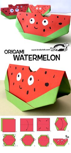 Origami watermelon paper craft for kids Origami Rose, Diy Origami, Origami Star Box, Origami Tutorial, Origami Paper, Origami Instructions, Rainbow Origami, Paper Crafts For Kids, Paper Crafting