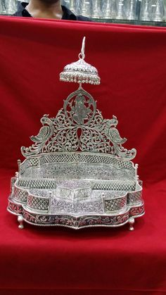 Thali Decoration Ideas, Temple Design For Home, Silver Pooja Items, Pooja Room Door Design, Silver Lamp, Silver Furniture, Puja Room, Silver Ornaments, Gold Earrings Designs