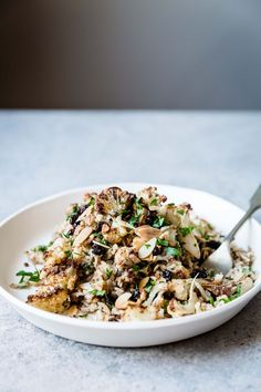 Rice Pilaf with Garam Masala Roasted Cauliflower + Balsamic Currants - The Green Life