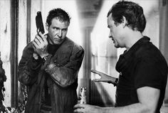 Harrison Ford and Ridley Scott on-set of Blade Runner (1982)