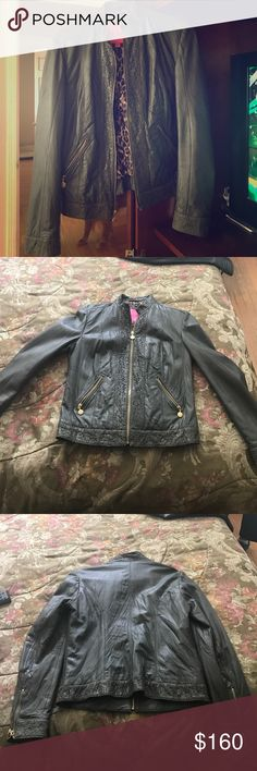 Olive Green Betsy Johnson jacket 100% Olive green  jacket in a size large perfect for a night out. 100% genuine leather Betsey Johnson Jackets & Coats
