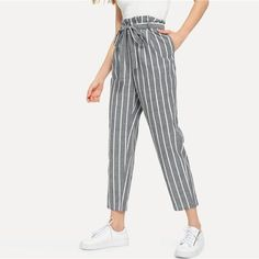 Grey Vacation Boho Bohemian Beach Self Belted Striped Tapered High Waist Pants Summer Women Weekend Casual Carrot Trousers – Witchday Store Flowy Pants Outfit, Boho Pants, Summer Office Wear, Straight Trousers, Queen, Striped Pants, Pants For Women, Casual, Fulfillment Center