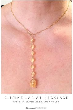 """🌝 Citrine is known as the """"happy stone"""" it helps attract love and happiness, along with increasing your imagination and creativity. Lovely Citrine is a 13th Anniversary gemstone and November's birthstone. I just added this stunning lariat """"Y"""" necklace to the store, 📸 the pic to see it 😁 #lariatnecklaces #ynecklaces #citrine #gemstonenecklaces #birthstonenecklaces #novemberbirthstone #anniversaynecklace #anniversarygift #adjustablenecklaces #renascentstudios #handmadejewelry… Layered Jewelry, Trendy Jewelry, Handmade Jewelry, Women Jewelry, Unique Jewelry, 13th Anniversary, Latest Jewellery, Birthday Gifts For Women, Birthstone Necklace"""