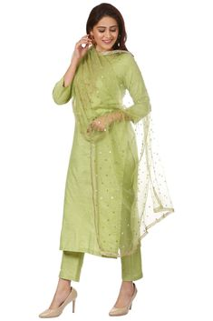 """Let the softness and royalty merge together this winter with the latest collection of anokherang """"Pista Green Embroidered Kurti and Straight Pants with Pista Green Net Dupatta"""" newly added to Our Royale Collection Silk Kurti Designs, Salwar Designs, Kurti Designs Party Wear, Blouse Designs, Blouse Patterns, Dress Designs, Net Kurti, Kurtis With Pants, Indian Designer Outfits"""