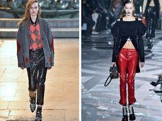 Lackleder-Pants waren auch auf dem Runway ganz groß. Links: Louis Vuitton, Rechts: Isabel Marant