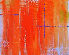 Crossroads Original Acrylic Orange Abstract Painting by SAMOS $150.00