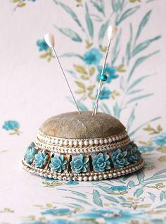 Vintage Pin Cushion Blue Rose