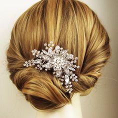 Victorian Style Wedding Hair Comb Pearl & Crystal by luxedeluxe