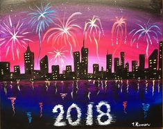 How To Paint A New Year's Eve Cityscape with Fireworks   This post contains affiliate