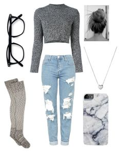 """Cute and cozy"" by madiedeg ❤ liked on Polyvore featuring Carven, Topshop, UGG and Links of London"