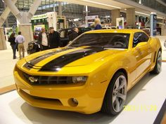 Chevy Camero...My future car...Same color with the black stripe.  My girls insist for me to have a Bubblebee car.
