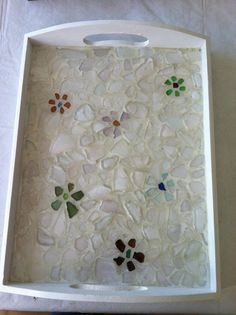 White sea glass mosaic tray with flowers on Etsy, $50.00