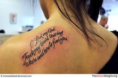 Bible phrase tattoo on a girl's shoulder