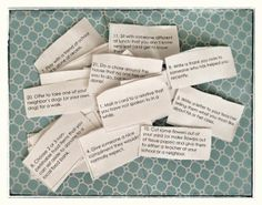 """We just cut up our Advent """"Giving House"""" List so we can start with our good deeds tomorrow (December 1st!). I am really looking forward to giving the girls these little messages again this year instead of counting down to Christmas with candy or cheap toys.I made a printable PDF to share."""