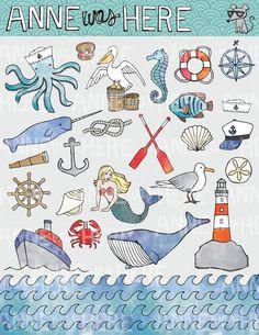 Illustrated Nautical / Ocean / Sea Doodles - Digital Clip Art